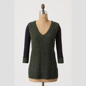 Anthropologie Dually Clad Cable Knit Pullover